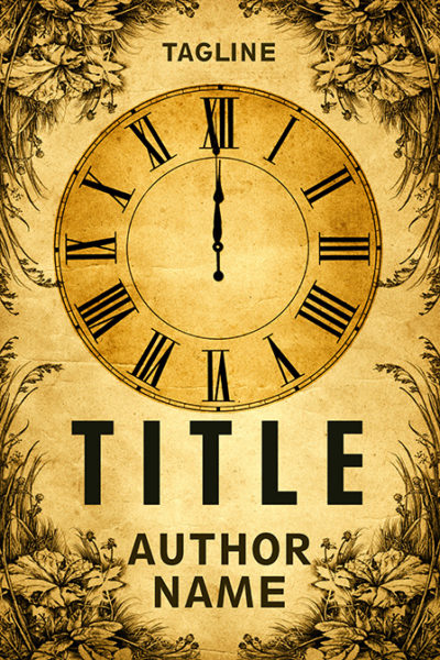 Midnight vintage clock premade book cover