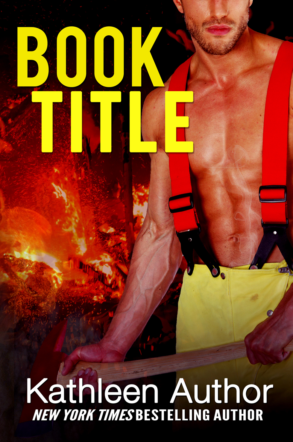 Fire fighter with flames premade book cover