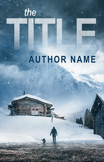 Thriller winter wooden cottage snow mountain premade book cover