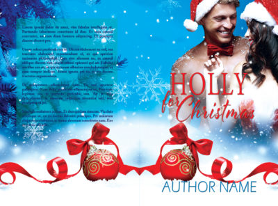 Christmas holiday scene with sexy couple embracing premade print book cover