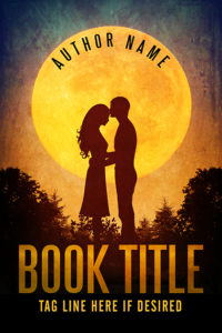 Sweet romance couple silhouette premade book cover
